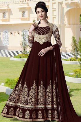 Georgette Party Wear Anarkali Suit Maroon Color