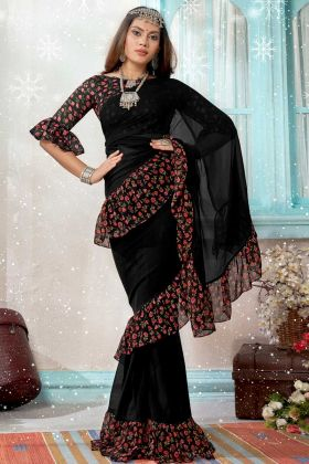 Georgette Party Wear Ruffle Saree With Black Color