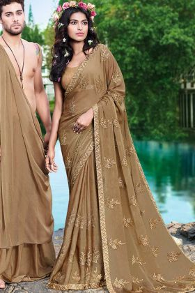 Georgette Party Wear Saree Beige Color With Thread Embroidery Work