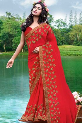 Georgette Party Wear Saree Red Color With Stone Work