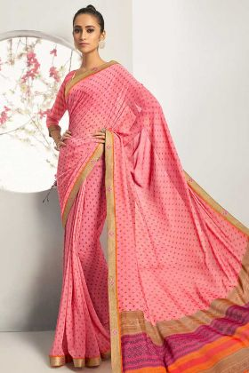 Georgette Print Light Pink Saree With Brocade Lace
