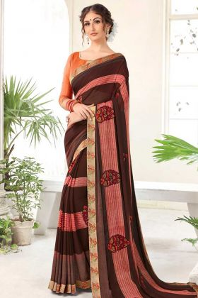 Georgette Printed Saree Brown Color With Lace Work