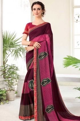 Georgette Printed Saree Pink With Raw Silk Blouse