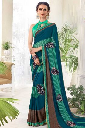 Georgette Printed Saree Turquoise Color With Lace Work