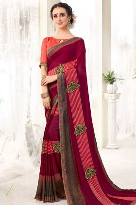 Georgette Printed Saree With Lace Maroon Color