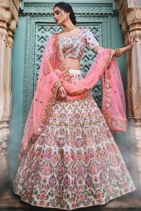 Georgette Reception Lehenga Choli Zari Work In Off White Color