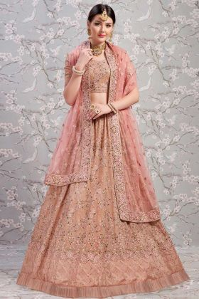 Georgette Receptional Lehenga choli Dusty Pink In Jari Embroidered