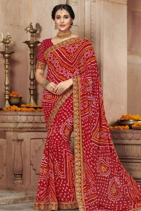 Georgette Red Bandhej Saree