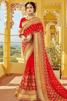Georgette Red Beautiful Bridal Saree Online