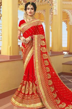Georgette Red Bridal Saree