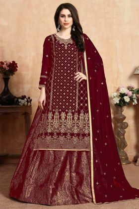 Georgette Red Color Indo Western Dress For Women