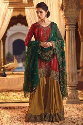 Georgette Red Pakistani Salwar Kameez