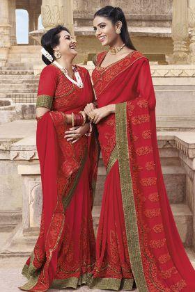 Georgette Red Wedding Saree Online