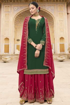 Georgette Resham Embroidered Dark Green Palazzo Dress