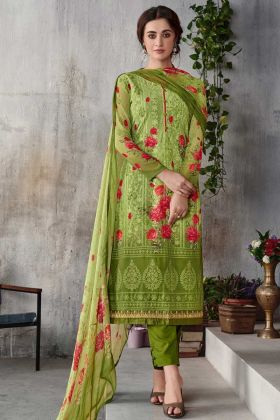 Georgette Salwar Suit In Printed Work Green Color