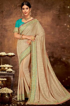 Georgette Saree Beige Color With Thread Embroidery Work