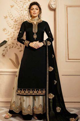 Georgette Satin Black Color Designer Palazzo Salwar Suit