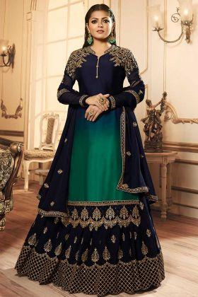 Georgette Satin Indo Western Salwar Salwar Kameez Embroidery Work In Navy Blue Color
