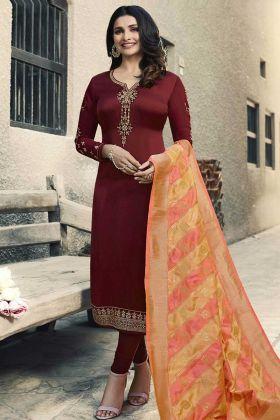 Georgette Satin Maroon Color Designer Salwar Suit In Embroidered Work