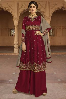 Georgette Satin Palazzo Dress Resham Embroidery Work In Maroon Color