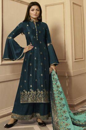 Georgette Satin Palazzo Salwar Kameez Teal Blue Color With Net Dupatta