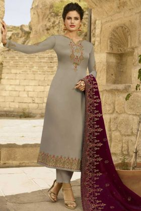 Georgette Satin Pant Style Salwar Kameez Grey Color With Embroidery Work
