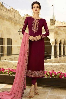 Georgette Satin Pant Style Salwar Kameez Stone Work In Maroon Color