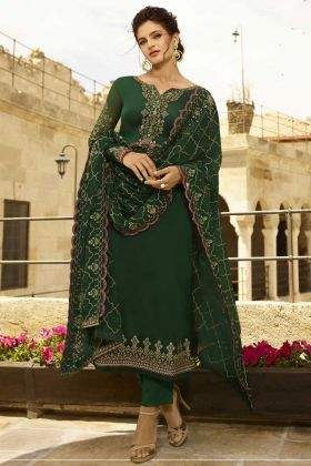 Georgette Satin Pant Style Salwar Suit Dark Green Color with Embroidery Work