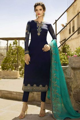 Georgette Satin Party Wear Pant Style Suit Stone Work In Dark Blue Color