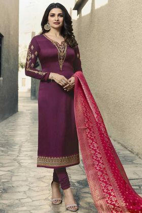 Georgette Satin Wine Wedding Salwar Suit In Embroidered Work