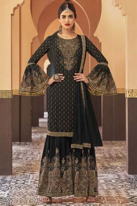 Georgette Sharara Dress Stone Work In Black Color