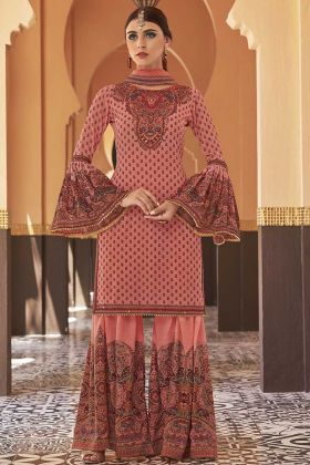 Georgette Sharara Salwar Kameez Pink Color With Stone Work