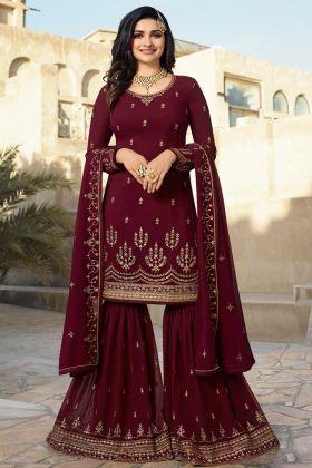 Georgette Sharara Salwar Suit Embroidery Work Maroon Color