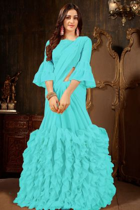 Georgette Sky Blue Party Wear Ruffle Saree