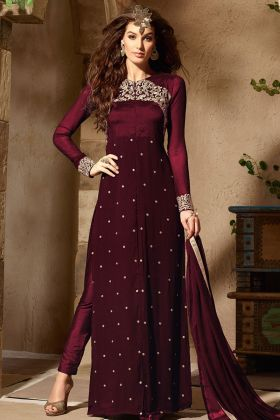 Georgette Straight Cut Pant Style Dress In Wine Color