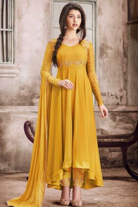 Georgette Straight Cut Salwar Kameez Mustard Yellow