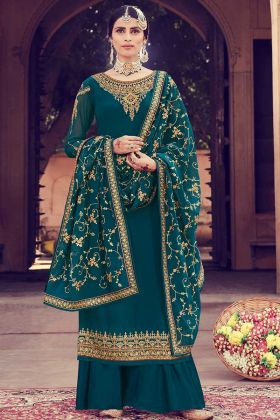 Georgette Teal Blue Palazzo Dress Resham Embroidery Work