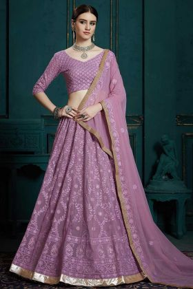 Georgette Wedding Lehenga Choli Lavender Color In Embroidered Work
