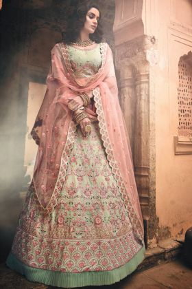 Georgette Wedding Lehenga Choli Swarovski Work In Pista Green Color