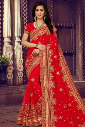 Georgette Wedding Saree Resham Work Red Color