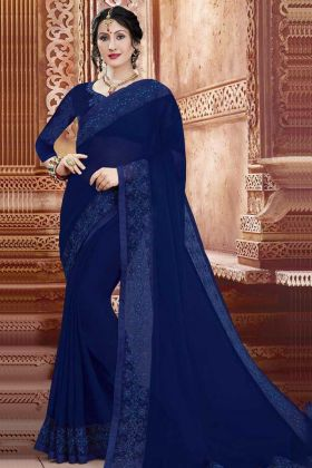 Georgette Wedding Saree Stone Work In Royal Blue Color