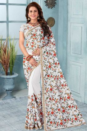 Georgette White Saree In Resham Embroidered Work