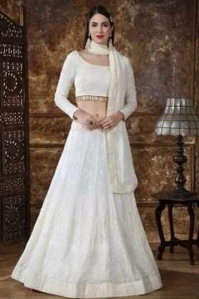 Georgette White Wedding Lehenga Choli