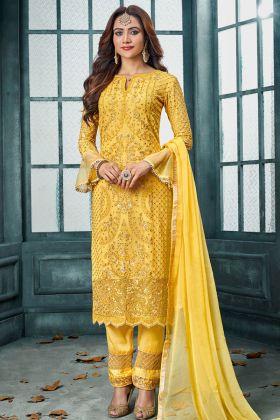 Georgette Yellow Pant Style Salwar Kameez