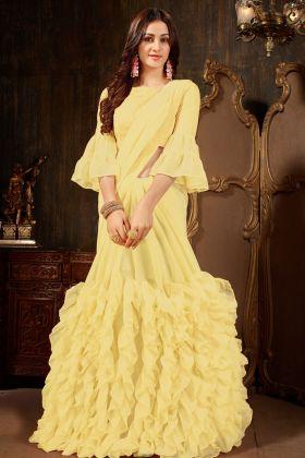 Georgette Yellow Ruffle Saree