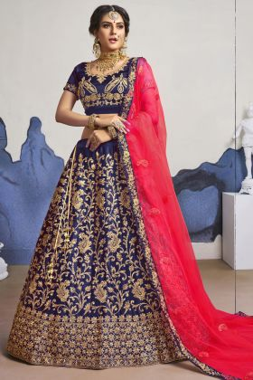 Get Elegant Look In Navy Blue Bridal Wearing Satin Silk Lehenga Choli