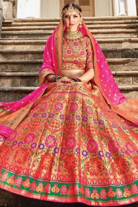 Get Pretty Look For Bridal In Silk Wedding Multi Color Lehenga Choli