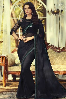 Get Pretty Look In Black Kasab Georgette Party Wear Saree
