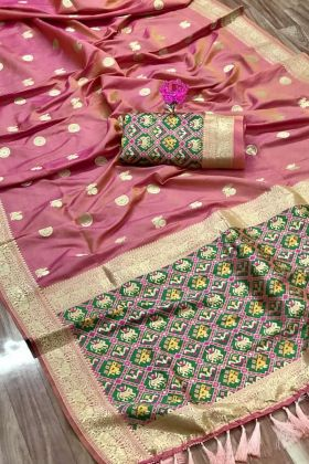 Get Pretty Look In Light Pink Color Full Weaving Pure Silk Saree