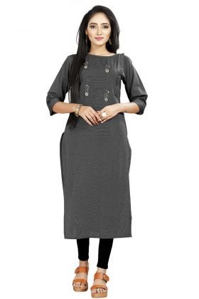 Get Simple And Pretty Look In Black Rayon Kurti